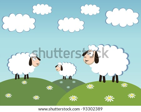 three white sheep and cloud on the sky. vector illustration - stock vector