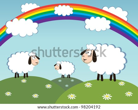 three white sheep with landscape in background and rainbow in the sky. vector illustration. - stock vector