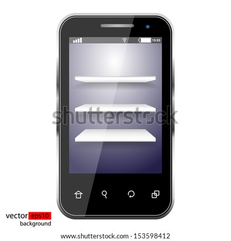 Three white shelves in a realistic black smartphone  - stock vector