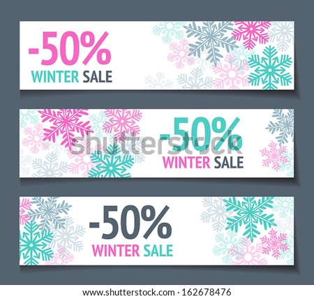 Three winter sales banners with snowflakes. - stock vector