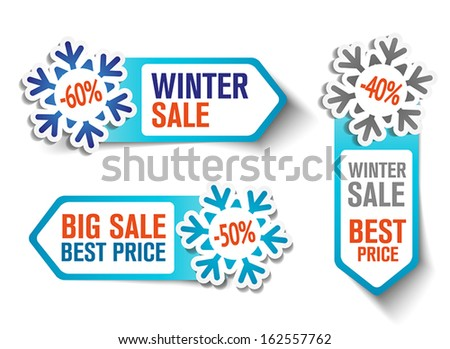 Three Winter Sales Labels With Snowflakes - stock vector