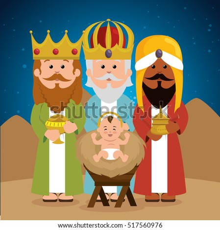 three wise kings baby jesus manger