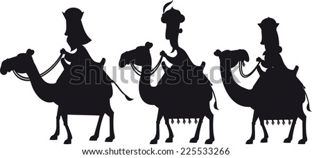 Three Wise kings silhouettes - stock vector
