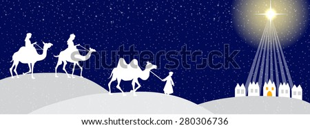 Three wise man with Bethlehem in the background- time line cover - stock vector