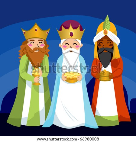 Three Wise Men bring gifts to Jesus on Christmas - stock vector