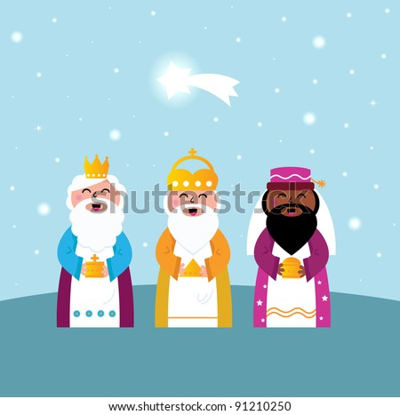 Three wise men bringing gifts to Christ - stock vector