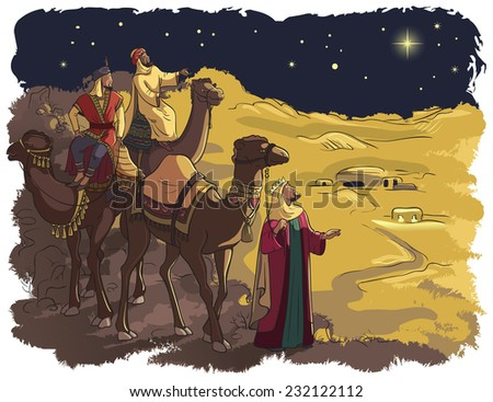 Three wise men following the star of Bethlehem. Jesus Nativity story. Also available coloring book version