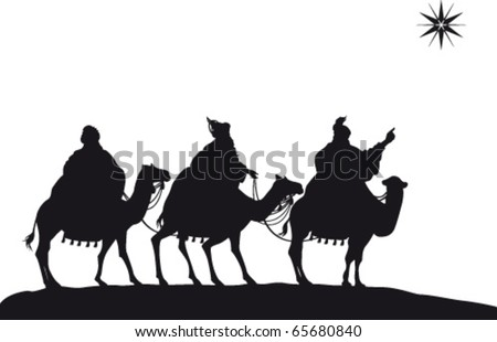 Three Wise Men of the Nativity on camels