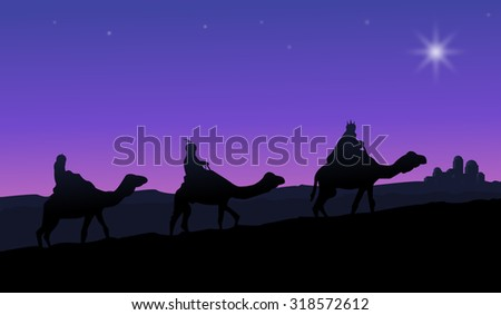 Three wise men on camels following the star - stock vector