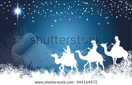 Three Wise men on their way to Bethlehem with baby Jesus background - stock vector
