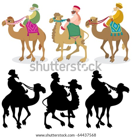 Three Wise Men on White: The three wise men and their camels isolated on white. Silhouettes are also included. No transparency and gradients used. - stock vector