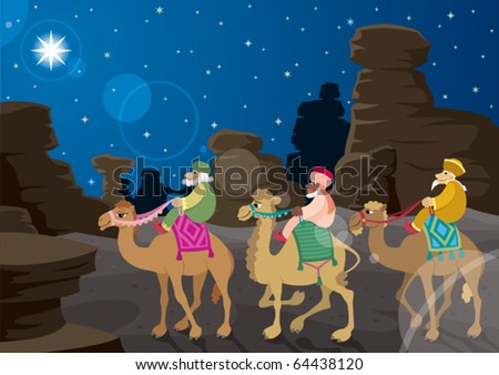 Three Wise Men: The three wise men on their camels, following the Star of Bethlehem across the desert. No transparency used. Basic (radial) gradient used for the sky. A4 proportions. - stock vector