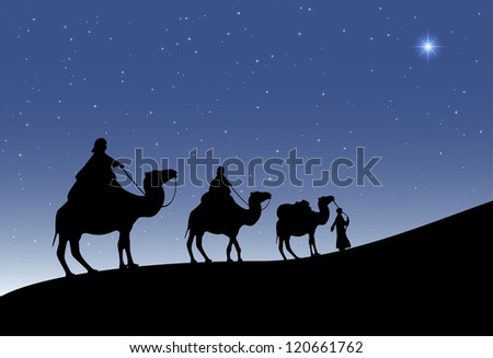 Three wise men with camels and a shining star of Bethlehem, illustration.