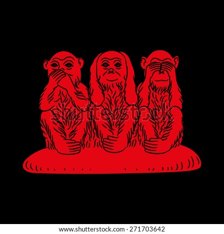 Three wise monkeys. Proverbial principle to �«see no evil, hear no evil, speak no evil�». Red figures on a black background. Vector illustration - stock vector