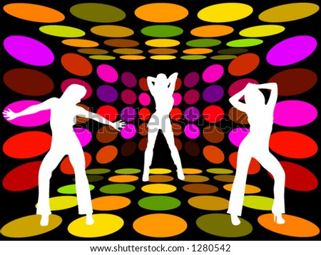 Three women dancing in a disco lounge - stock vector