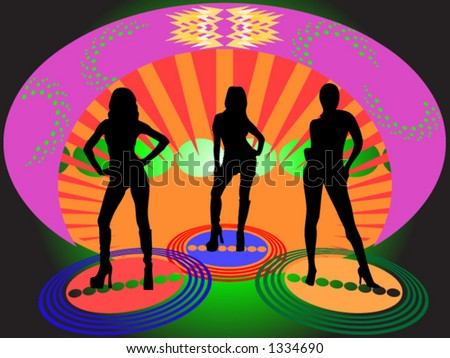 Three women hanging out in a disco lounge vector - stock vector