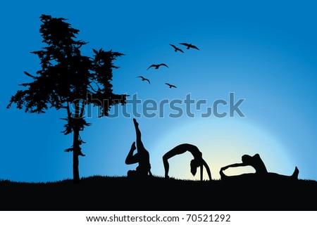 three women in gymnastics positions on hill near tree, blue sky - stock vector