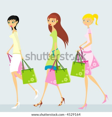 Three women, shopping - stock vector