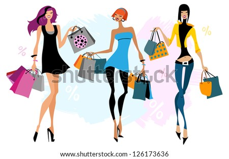 Three women with  shopping bags. Vector illustration. Isolated - stock vector
