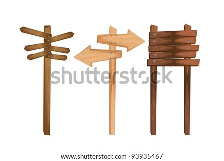 three wooden indication isolated over white background. vector