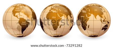 Three World Globes on a white background The base map is from https://zulu.ssc.nasa.gov/mrsid/ - stock vector