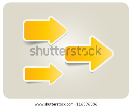 Three yellow vector paper arrow stickers with shadows - stock vector