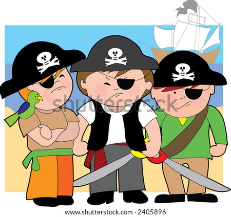 Three young boys dressed as pirates on the beach - stock vector