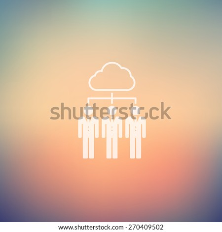 Three young man with cloud icon in flat style in flat style for web and mobile, modern minimalistic flat design. Vector white icon on gradient mesh background - stock vector