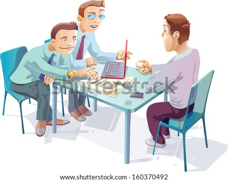 Three young managers are talking about something important in the office. - stock vector