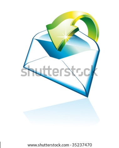 Threedimentional Email Icon with Reflection