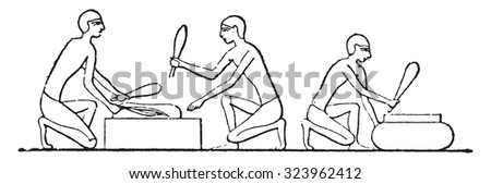 Threshing flax, vintage engraved illustration.