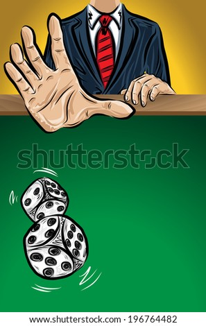 Throwing of dices, vector illustration for your design, eps10, easy editable, 4 layers - stock vector