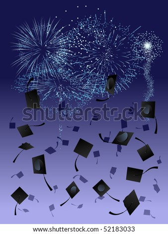 Thrown graduation caps against a fireworks display background - stock vector