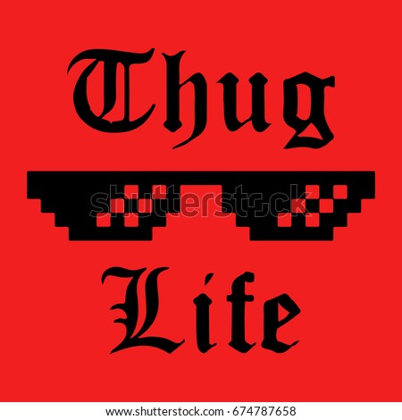 Thug life glasses meme sticker applique apparel label for t shirts
