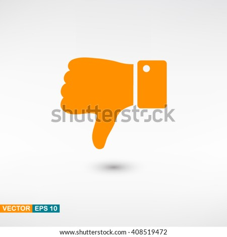 Thumb down icon vector eps 10. Orange Thumb down icon with shadow on a gray background. - stock vector