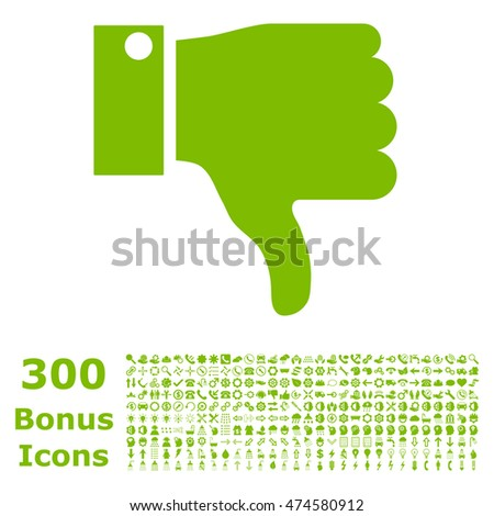 Thumb Down icon with 300 bonus icons. Vector illustration style is flat iconic symbols, eco green color, white background.