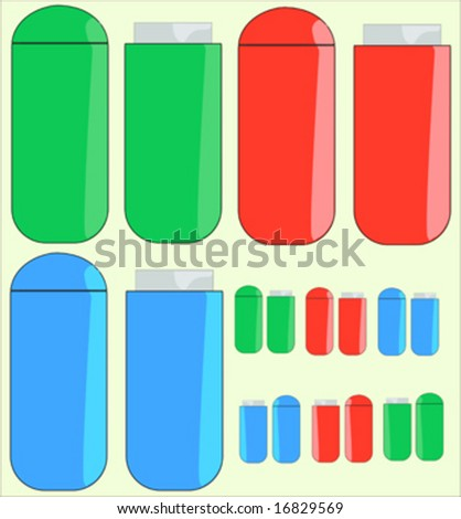 Thumb drives with tops in red, green and blue