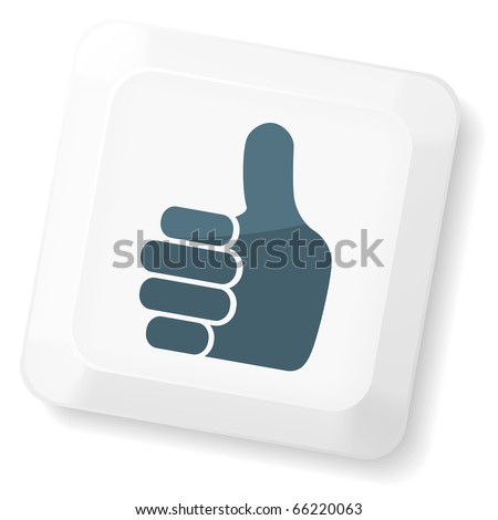 Thumb`s up sign on computer key. Vector keyboard collection. - stock vector