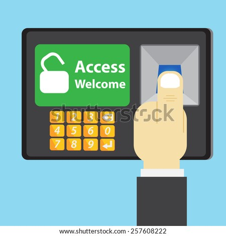 Thumb scan on access control - stock vector