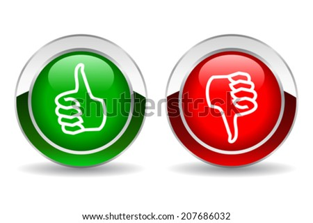Thumb up and down button - stock vector