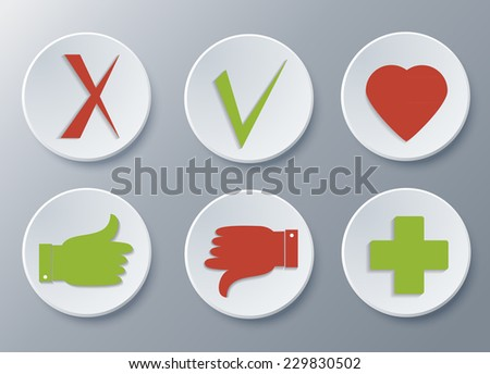 Thumb up and down, check mark, Like, heart, plus flat icons set with shadow on paper circles. Vector sign. Mark for your design vector 10 EPS. - stock vector