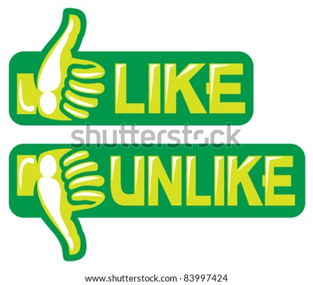 thumb up and down gesture (like and unlike) - stock vector
