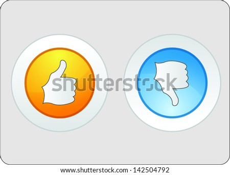 Thumb up and down icons - stock vector