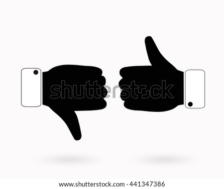Thumb up and down icons. - stock vector