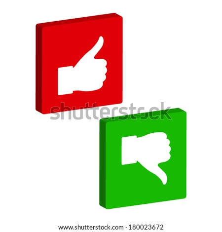 thumb up and down - vector button - stock vector