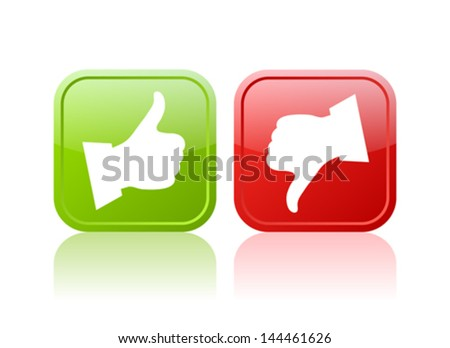 Thumb up and down vector buttons - stock vector