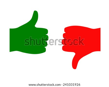 Thumb up and low isolated on white background 2 - stock vector