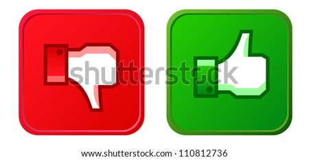 Thumb up and thumb down button - stock vector