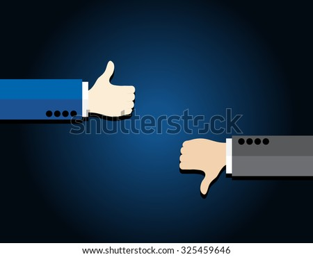 Thumb up and thumb down on blue background business concept