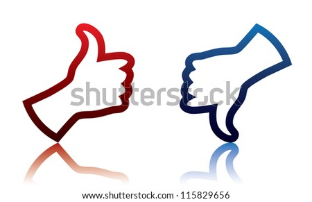 Thumb Up And Thumb down Sign - stock vector